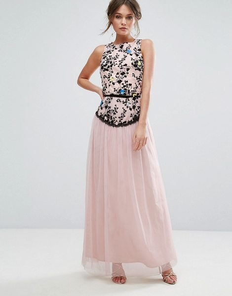"""Little Mistress Embroidered Maxi Dress With Tulle Skirt in pink - """"""""Maxi dress by Little Mistress, Lined woven fabric,..."""