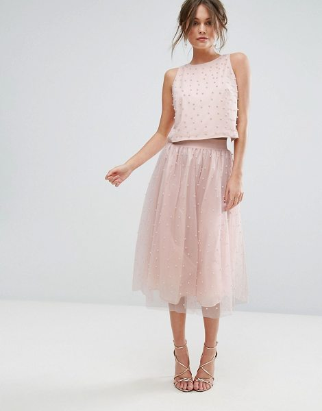 "Little Mistress Faux Pearl Embellished Tulle Midi Skirt in pink - """"Midi skirt by Little Mistress, Lightweight tulle,..."