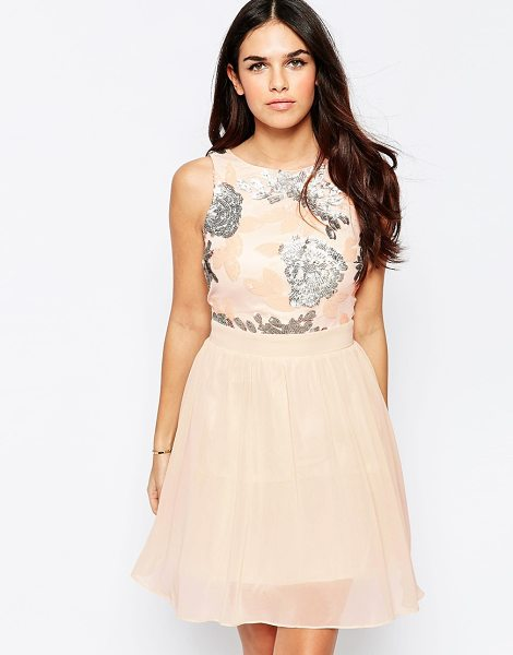 LITTLE MISTRESS Fit and Flare Dress with Sequin Top - Dress by Little Mistress, Lined chiffon, Round neckline,...