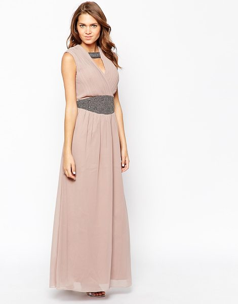 Little Mistress Grecian maxi dress in mink - Maxi dress by Little Mistress Lightweight chiffon Satin...