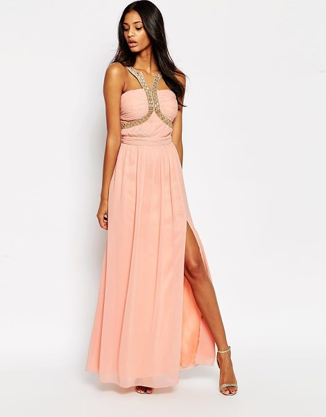 LITTLE MISTRESS Halterneck maxi dress with embellished straps - Evening dress by Little Mistress Woven fabric Beaded...