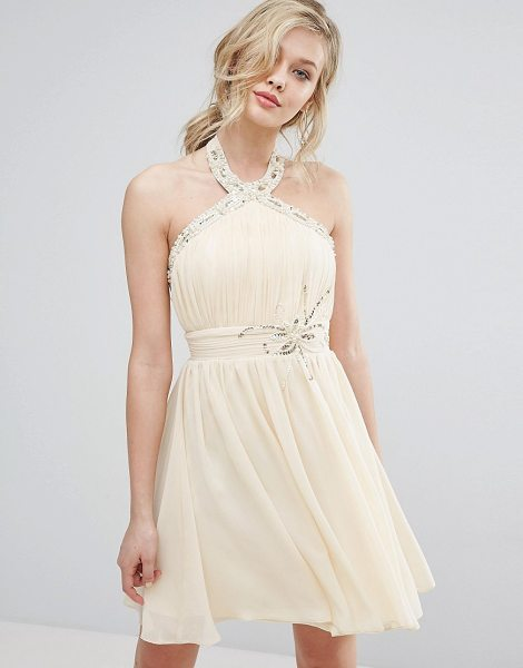 "LITTLE MISTRESS Halterneck Skater Dress With Embellished Detail - """"Dress by Little Mistress, Lined chiffon, Halterneck..."