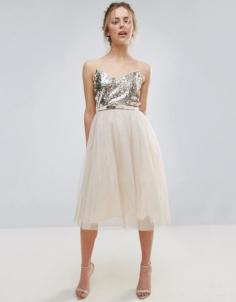 "Little Mistress Heavily Embellished Prom Dress in cream - """"Dress by Little Mistress, Lined sequinned top,..."