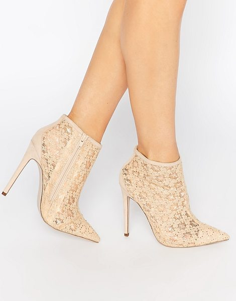 "Little Mistress hepburn lace heeled ankle boots in nude - """"Shoes by Little Mistress, Lace upper, Side zip, Point..."