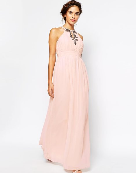 Little Mistress High neck embellished maxi dress in nude - Maxi dress by Little Mistress Semi-sheer chiffon...