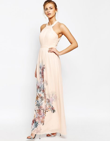 Little Mistress High neck maxi dress with open back in nude floral print - Maxi dress by Little Mistress Lined chiffon High...