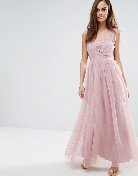 "Little Mistress Jewel Bust Maxi Dress in pink - """"Maxi dress by Little Mistress, Lightweight mesh, Fully..."