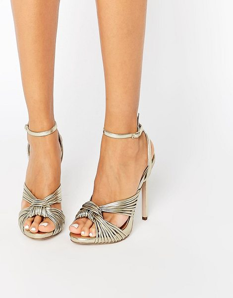 Little Mistress Knot Front Heeled Sandals in gold - Shoes by Little Mistress, Faux-leather upper, Metallic...