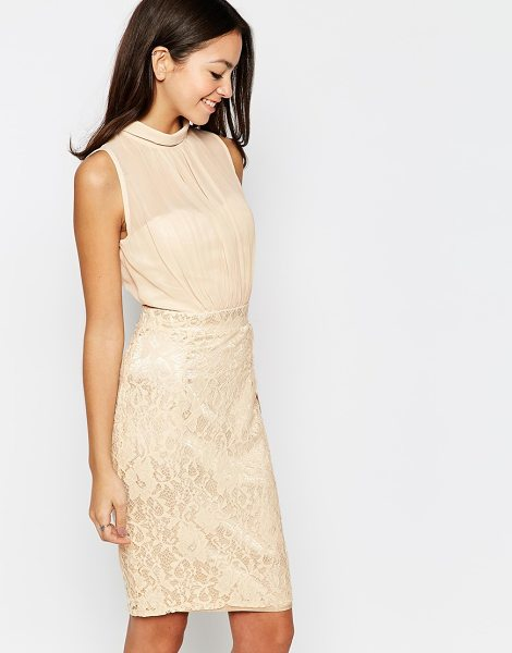 Little Mistress Lace body-conscious dress with sheer top in beige - Lace dress by Little Mistress Sheer, woven top High...