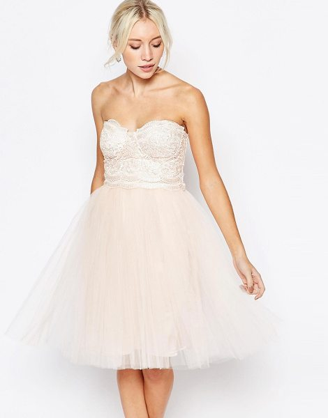 "Little Mistress lace bustier dress with tulle skirt in pink - """"Evening dress by Little Mistress, Lace structured..."