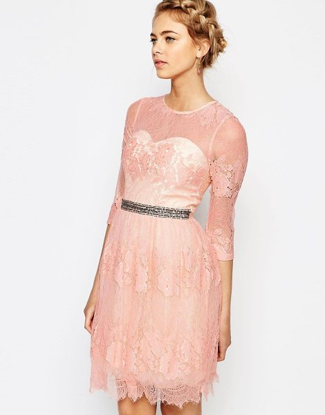 "Little Mistress Lace Dress with Waist Embellishment in pink - """"Lace dress by Little Mistress, Floral lace, Bustier..."