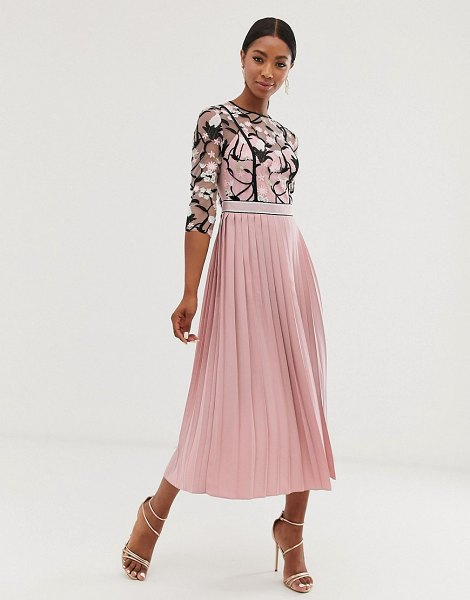 Little Mistress lace embroidered top 3/4 sleeve midi dress with pleated skirt in rose-pink in pink