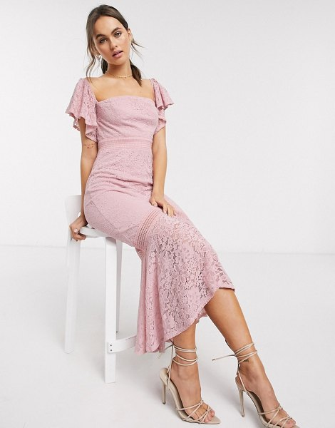 Little Mistress lace fishtail maxi dress in blush-pink in pink
