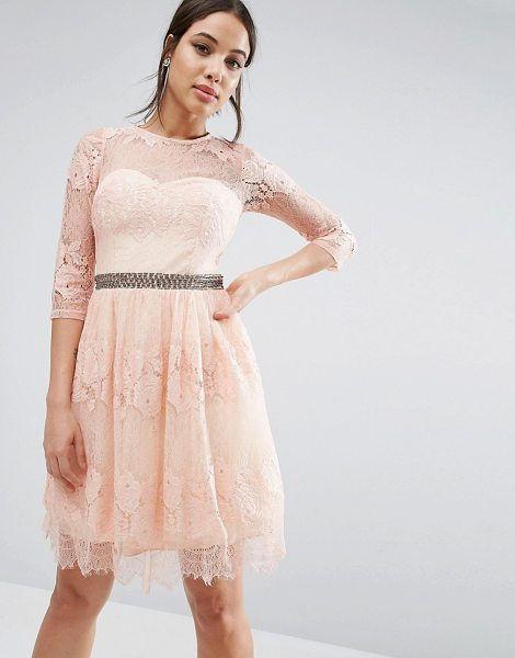 "LITTLE MISTRESS Lace Overlay 3/4 Sleeve Dress in pink - """"Lace dress by Little Mistress, Lined lace, Round neck,..."