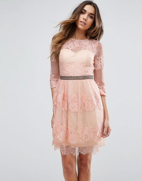 "Little Mistress Lace Overlay Mini Dress in pink - """"Dress by Little Mistress, Lined lace, Round neck,..."