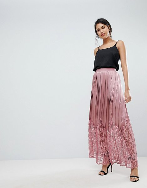Little Mistress lace pleated maxi skirt in rose