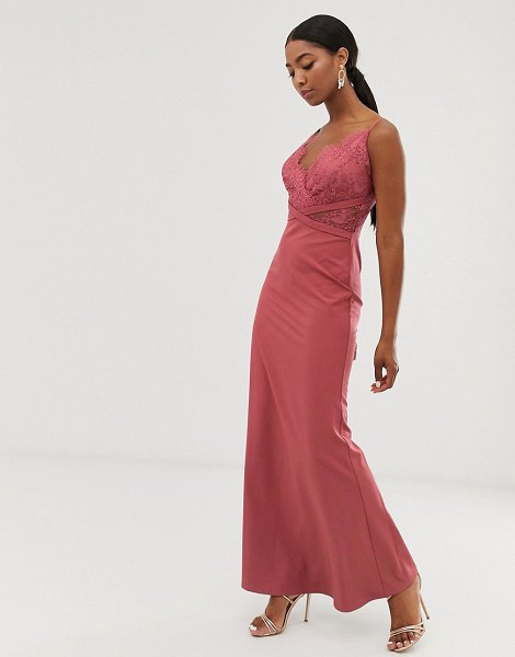 Little Mistress lace top fishtail maxi dress in dark coral-pink in pink