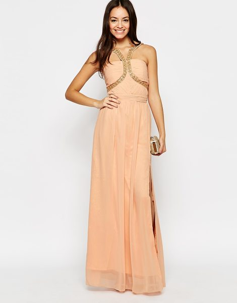 Little Mistress Maxi dress with embellished strap detail in peach - Maxi dress by Little Mistress Delicate, lined chiffon...