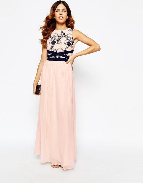 Little Mistress Maxi dress with lace bodice in creamnavy - Maxi dress by Little Mistress Delicate, woven fabric...