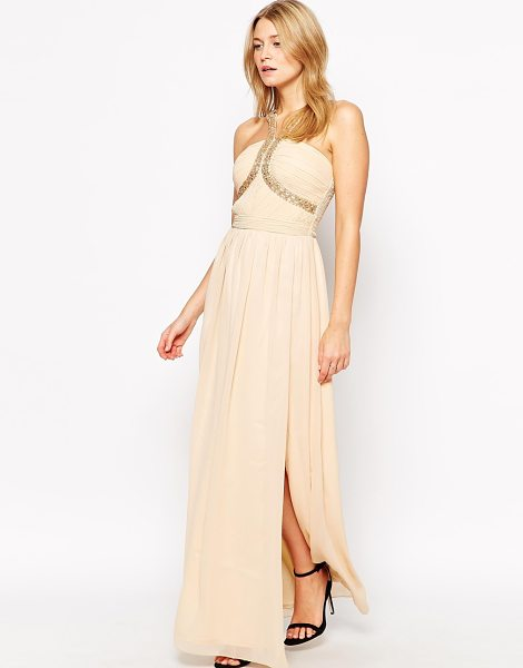 Little Mistress Maxi dress with woven strap detail in peach - Maxi dress by Little Mistress Lined, woven fabric...