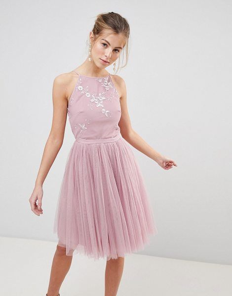 Little Mistress mesh skirt prom dress with bead detail top in blush