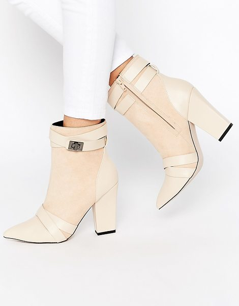Little Mistress Newman cross strap chunky heel boots in nude