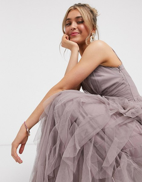 Little Mistress organza maxi dress with waterfall detail in mink-brown in brown