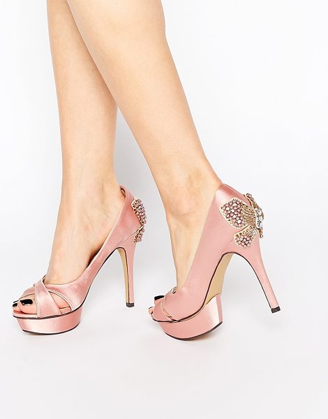Little Mistress Peeptoe platform heeled shoes in pink - Shoes by Little Mistress, Satin upper, Cross-over foot...
