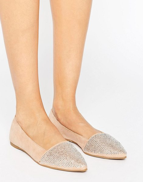 Little Mistress Pointed Glitter Detail Flat Shoes in beige - Shoes by Little Mistress, Faux-suede upper, Diamante...