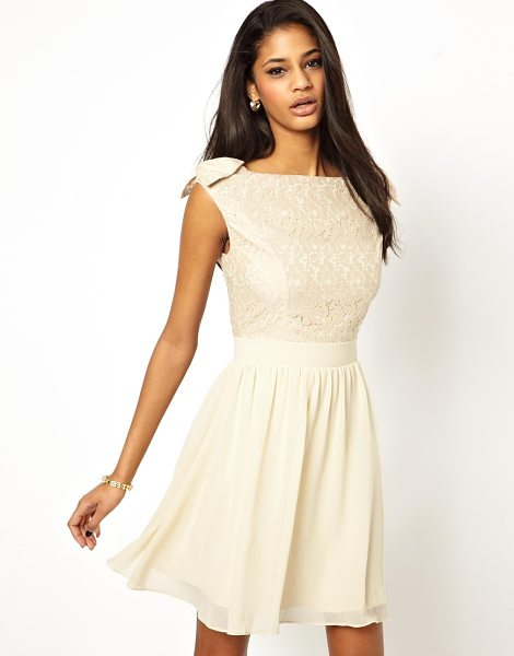 Little Mistress Prom dress with lace bardot top in cream - Hand Wash Only. Fabric: 100% Polyester, Fabric 2: 60%...