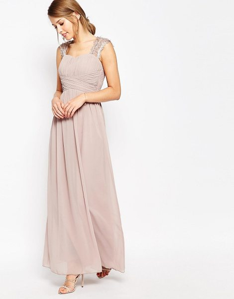 Little Mistress Ruched Bodice Maxi Dress With Lace Sleeves in pink - Maxi dress by Little Mistress, Lined chiffon, Sweetheart...