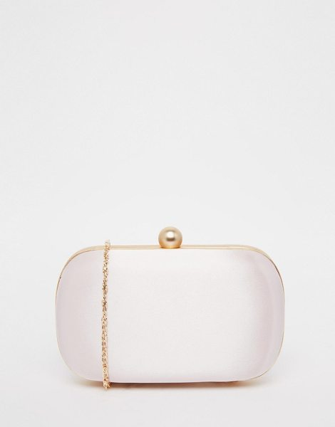 Little Mistress Satin box clutch bag in champagne - Cart by Little Mistress Satin outer Gold-tone frame Snap...