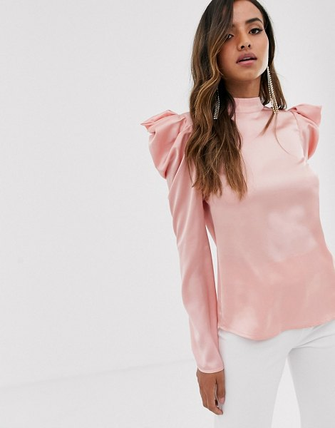 Little Mistress satin top with statement shoulders in pink in pink