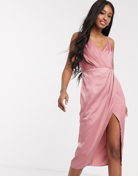 Little Mistress satin wrap dress in pink-beige in beige