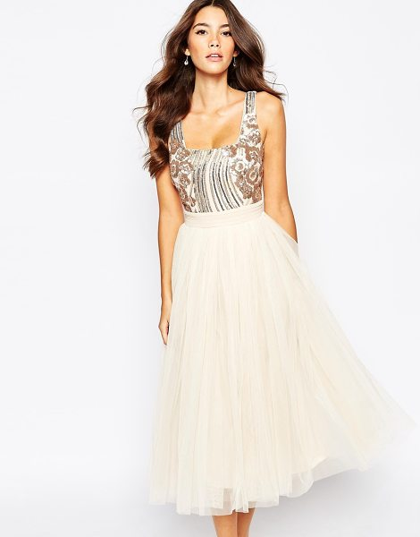 "LITTLE MISTRESS Sequin Midi Dress With Tulle Skirt - """"Midi dress by Little Mistress, Lined sequined bodice,..."