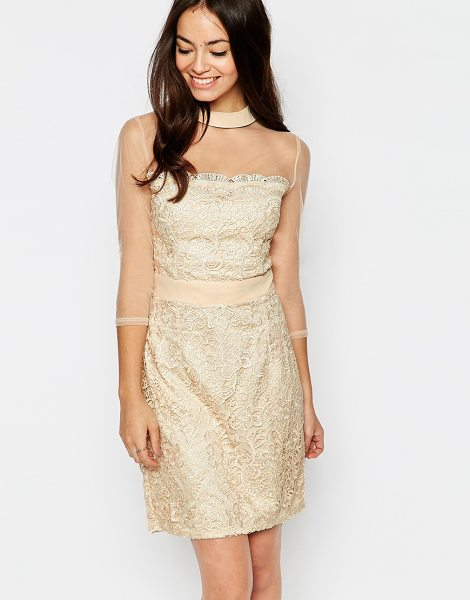 Little Mistress Shift dress with sheer sleeves in cream - Lace dress by Little Mistress Sheer yoke and sleeves...