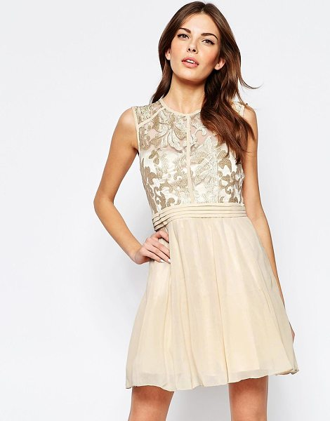 Little Mistress Skater dress with baroque lace top in goldnude - Evening dress by Little Mistress Lined fabric Sheer...