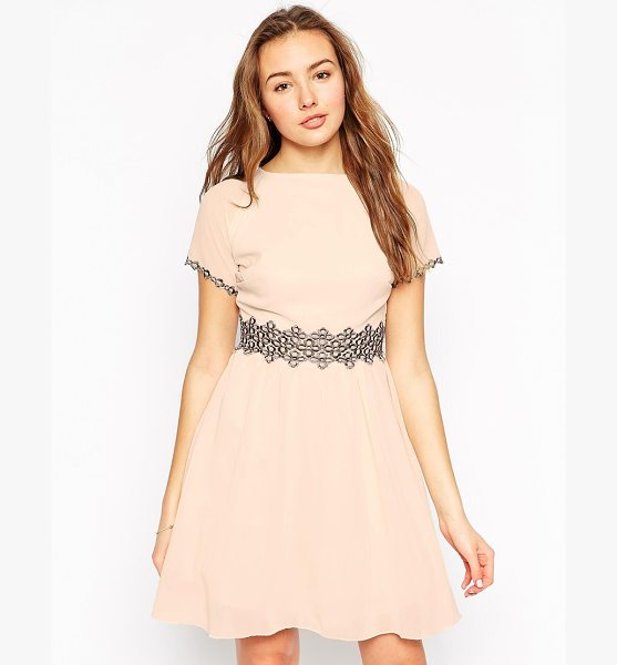 Little Mistress Skater dress with contrast lace waist trim in nude - Dress by Little Mistress Mid-weight chiffon Lined body...