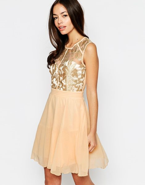 Little Mistress Skater dress with lace top in goldcream - Lace dress by Little Mistress Semi-sheer, embroidered...