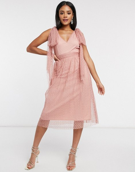 Little Mistress skater midi dress with bow shoulder in cosmetic pink in pink