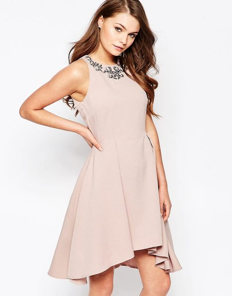 Little Mistress Structured skater dress with embellished neck in pink - Dress by Little Mistress, Structured woven fabric, Fully...
