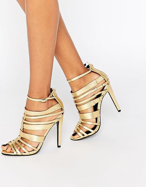 Little Mistress Taylor Multi Strap Heeled Sandals in gold - Shoes by Little Mistress, Gold-tone leather-look upper,...