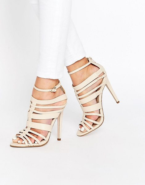 LITTLE MISTRESS Taylor Multi Strap Peep Toe Heeled Sandals - Shoes by Little Mistress, Faux leather upper,...