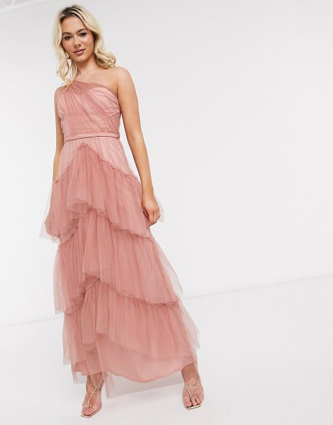 Little Mistress tiered one shoulder maxi in cosmetic pink in pink