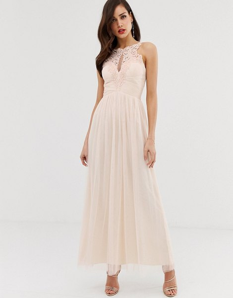 Little Mistress tulle maxi dress with lace detail-pink in pink