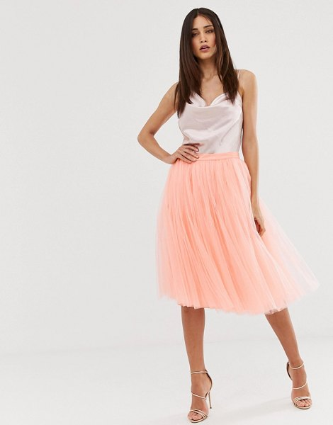 Little Mistress tulle midi prom skirt in coral in coral