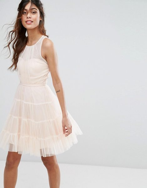 "Little Mistress tulle mini dress in nude - """"Dress by Little Mistress, Lined tulle, Round neck,..."
