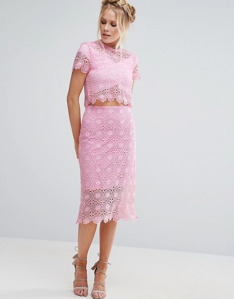 "LITTLE WHITE LIES Crochet Tom Skirt in pink - """"Skirt by Little White Lies, Crochet lace fabric,..."