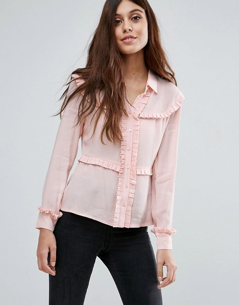 Little White Lies Marthe Frill Detail Shirt in pink