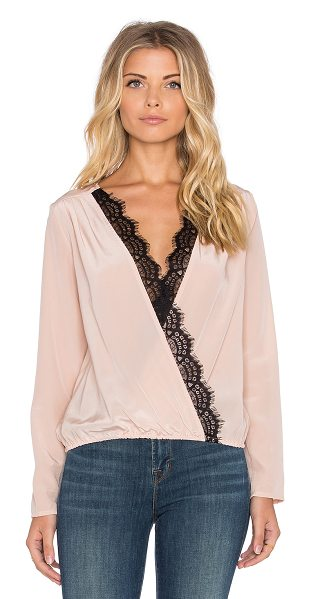 LIV Longsleeve Cross Over Top in blush - 100% silk. Dry clean only. Lace trim. Elasticized waist....
